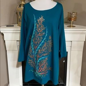 Bob Mackie  Teal Embroidered Sequined Sea Tunic